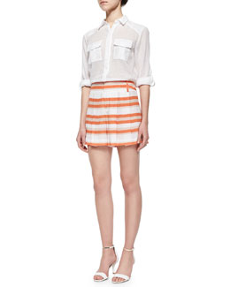 Alice + Olivia Maire Crinkled Voile Cargo Blouse & High-Waist Striped Pleated Shorts
