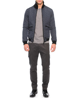 Quilted Zip-Up Nylon Jacket, Short-Sleeve Knit Henley Tee & Cargo Jogger Pants