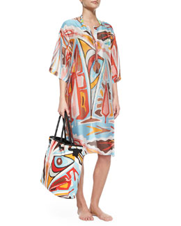 Emilio Pucci Celeste Sheer Printed Caftan Coverup & Printed Linen Beach Bag