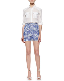 Alice + Olivia Maire Crinkled Voile Cargo Blouse & Printed High-Waist Shorts