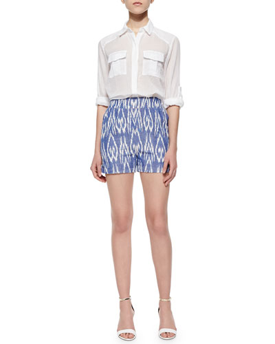 Maire Crinkled Voile Cargo Blouse & Printed High-Waist Shorts