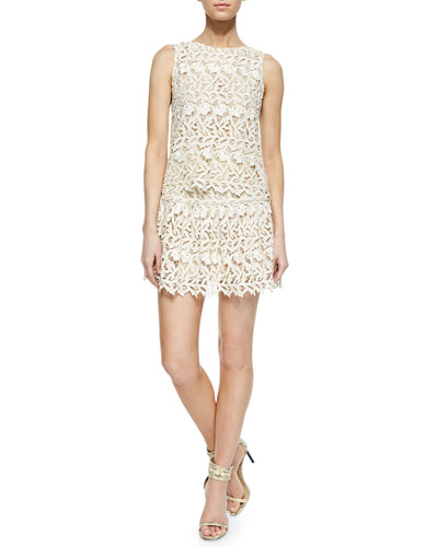 Amal Sleeveless Lace Top & Jayce Drop-Waist Cutout Skirt