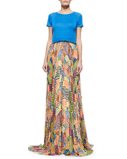 Alice + Olivia Helen Short-Sleeve Knit Cropped Sweater & Shannon Printed Pleated Maxi Skirt