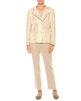 Giorgio Armani Double-Breasted Python Jacket, Diagonal Rib-Knit Top & Linen-Blend Lightweight Ankle Pants