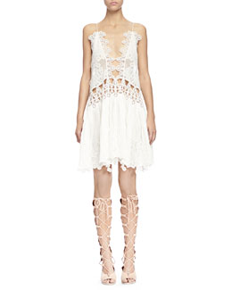 Chloe Peacock-Embroidered Open-Front Shift Dress & Suede Gladiator Tall Wedge Sandal
