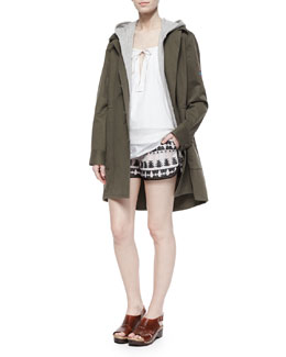 Thakoon Addition Heavy Twill/Knit Hooded Coat, Layered Sleeveless Poplin Top & Tribal-Pattern Relaxed Shorts