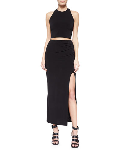 T-Back Halter Crop Top & Gathered High-Slit Maxi Skirt