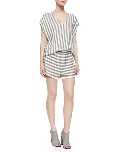 Oversize Striped Cap-Sleeve Sweater & Striped Slub Pull-On Shorts