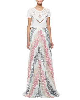 Alice + Olivia Cadby Beaded Crewneck Tee & Wide-Leg Pleated Pants
