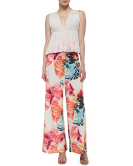 Alice + Olivia Kailyn Sleeveless Boho Blouse & Super Flared Wide-Leg Pants