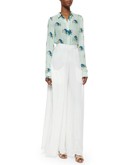 Alice + Olivia Willa Mini-Collar Shirt & Pleated Wide-Leg Pants