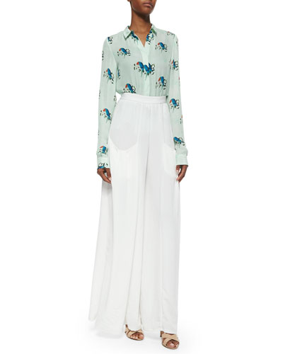 Willa Mini-Collar Shirt & Pleated Wide-Leg Pants