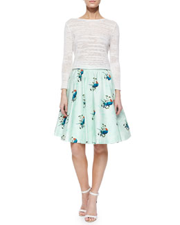 Alice + Olivia Fallon Cropped Slub Sweater & Earla Bird-Print Skirt