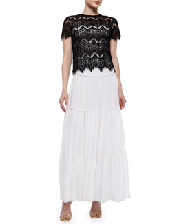 Alice + Olivia Emmaline Boxy Lace Top & Isobel Ruffled Tier Skirt