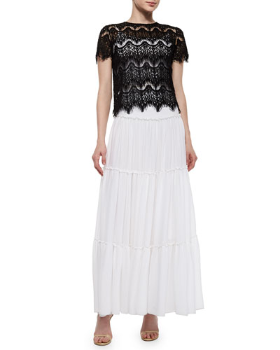 Emmaline Boxy Lace Top & Isobel Ruffled Tier Skirt