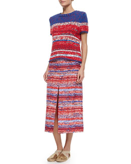 Tory Burch Short-Sleeve Mercerized Cotton Pullover & Soft Silk Midi Skirt