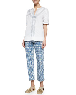 Tory Burch Embroidered Poplin Tunic & Cropped Plaid Pants
