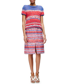 Tory Burch Short-Sleeve Mercerized Cotton Pullover & Yarn-Dyed Soft Silk Midi Skirt