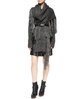 Belstaff Speckled Ribbed Knit Sweater, Chelsea Ribbed Fringe Tassel Scarf & Luxton Pleated Napa Skirt