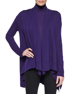 Draped Cashmere Cozy Cardigan & Sleeveless Turtleneck Jersey Top