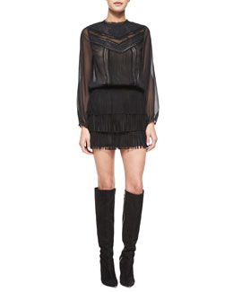 Alice + Olivia Layna Mixed-Lace Top & Lavana Fringe Suede Skirt