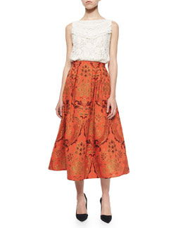 Alice + Olivia Finlay Fitted Sleeveless Crochet Top & Luisa A-Line Midi Skirt