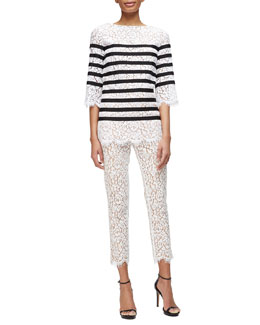 Michael Kors Striped Floral Lace Top & Floral Lace Scalloped Skinny Pants
