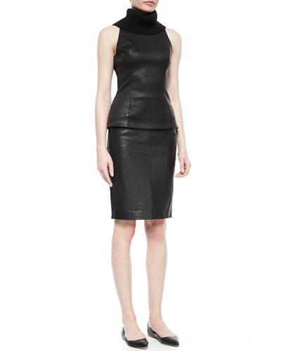 Leather-Paneled Turtleneck Tank Top & Leather-Front Pencil Skirt