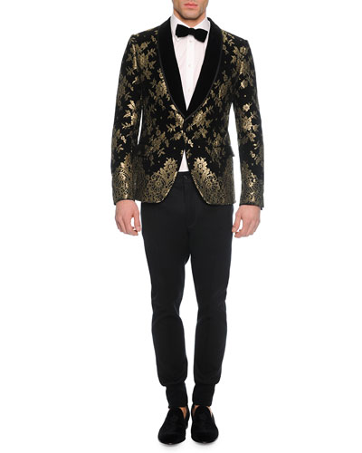 Chantilly Lace Velvet Evening Jacket, Long-Sleeve Woven Shirt, Solid Velvet Bow Tie & Woven Jogger Trouser Pants