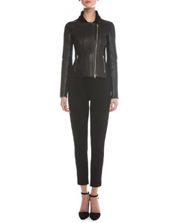 Giorgio Armani Leather Bonded Ribbed Jacket & Jersey Zip-Cuff Ankle Pants