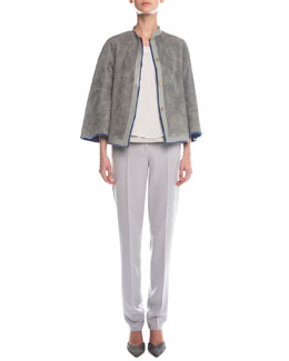 Giorgio Armani Reversible Shearling & Snake-Stamped Jacket, Sleeveless Layered Combo Blouse & Slim-Fit Crepe Pants