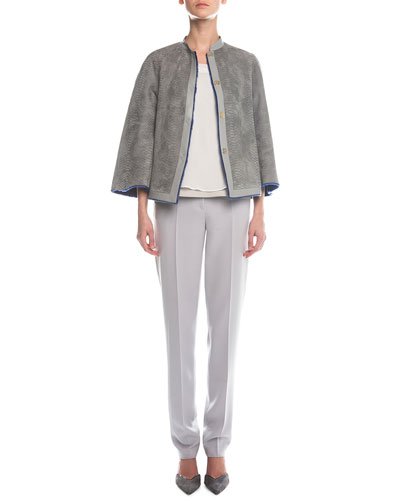 Reversible Shearling & Snake-Stamped Jacket, Sleeveless Layered Combo Blouse & Slim-Fit Crepe Pants