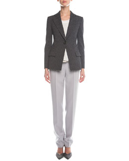 Giorgio Armani Abstract Jacquard Single-Button Blazer, Sleeveless Layered Combo Blouse & Slim-Fit Crepe Pants