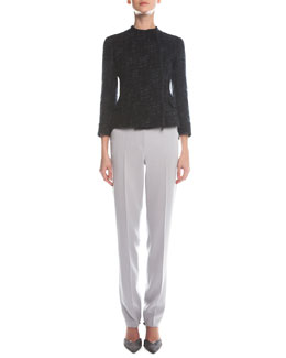 Giorgio Armani Asymmetric Zip Boucle Jacket & Slim-Fit Crepe Pants