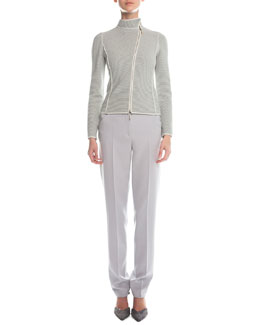 Giorgio Armani Piped Asymmetric Zip-Front Jacket & Slim-Fit Crepe Pants