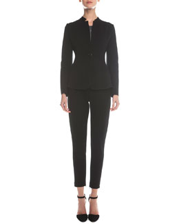 Giorgio Armani Wool-Blend Jersey Jacket, Scoop-Neck Marble-Print Top & Jersey Zip-Cuff Ankle Pants