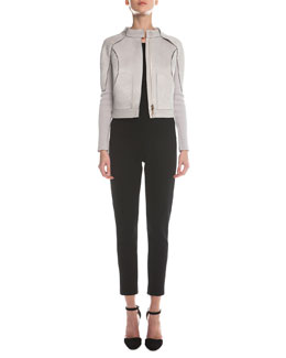 Giorgio Armani Bonded Ribbed Bomber Jacket, Ottoman-Knit Short-Sleeve Top & Jersey Zip-Cuff Ankle Pants