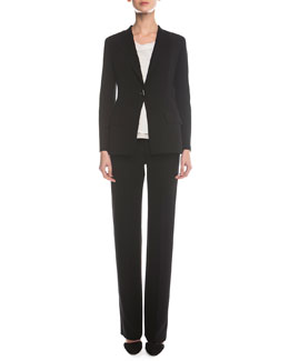 Giorgio Armani Double-Faced Toggle Blazer, Sleeveless Layered Combo Blouse & Boot-Cut Double-Faced Pants