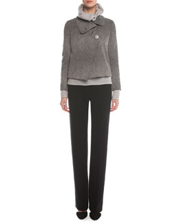 Giorgio Armani Stingray-Print Jacquard Asymmetric Jacket, Cashmere-Blend Boucle Pullover & Boot-Cut Double-Faced Pants
