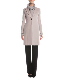 Giorgio Armani Cashmere Double-Faced Tailored Coat, Cashmere-Blend Boucle Pullover & Boot-Cut Double-Faced Pants