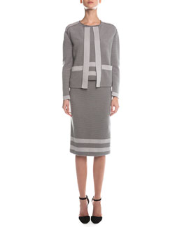Giorgio Armani Contrast-Trimmed Ribbed Cardigan, Ribbed Contrast Striped Top & Ribbed Border Striped Pencil Skirt