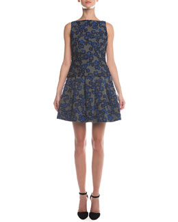 Giorgio Armani Floral-Jacquard Jersey Combo Top & Box-Pleated Floral Jacquard Skirt