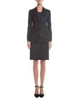 Giorgio Armani Pinstripe Single-Button Blazer, Scoop-Neck Pintucked Top & Pinstripe Wool Pencil Skirt