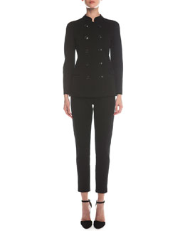 Giorgio Armani Double-Breasted Jersey Long Jacket & Jersey Zip-Cuff Ankle Pants