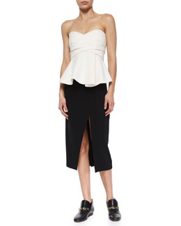 Derek Lam 10 Crosby Strapless Corset Top W/ Metallic Bands & Front-Slit Midi Pencil Skirt