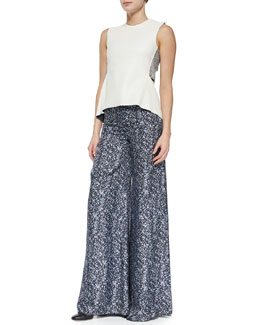 Derek Lam 10 Crosby Strapless Corset Top W/ Metallic Bands & Printed Wide-Leg Trousers W/ Side Slit