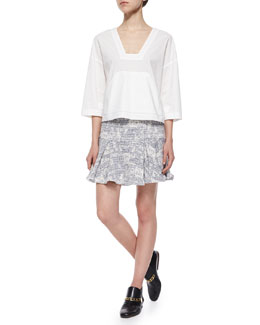Derek Lam 10 Crosby 3/4-Sleeve Poplin Top & Cotton-Blend Flared Skirt