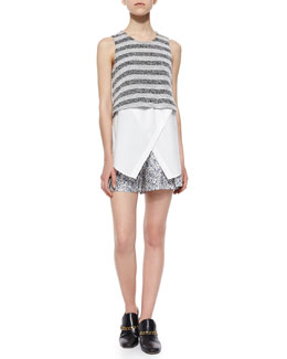 Derek Lam 10 Crosby Sleeveless Striped Layered Tank & Floral-Print Shorts W/ Saddle Studs