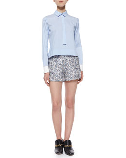 Derek Lam 10 Crosby Long-Sleeve Striped Henley Blouse & Floral-Print Shorts W/ Saddle Studs