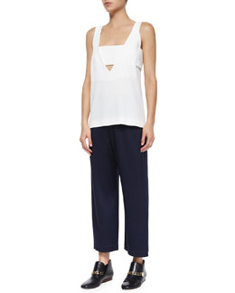 Derek Lam 10 Crosby Deep V-Neck Tank With Band & High-Waist Cropped Trousers W/ Saddle Studs